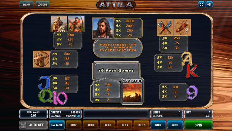 Изображение игрового автомата Attila 3