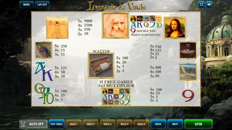 Изображение игрового автомата Leonardo Da Vinchi 3