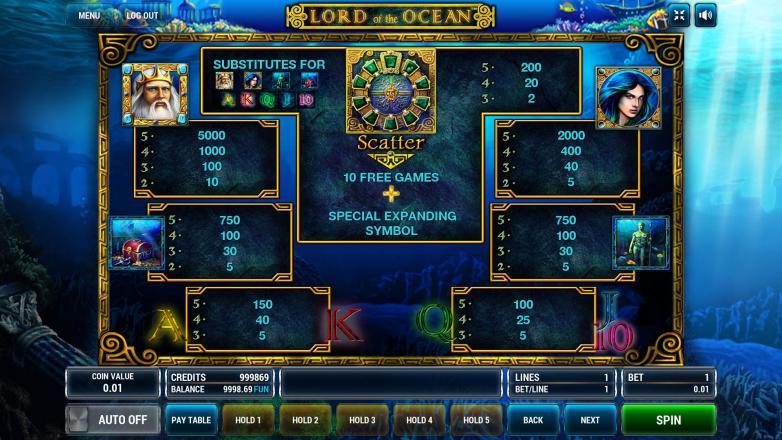 Изображение игрового автомата Lord of the Ocean 3