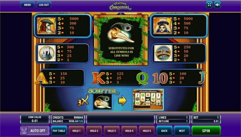 Изображение игрового автомата Venetian Carnival 3