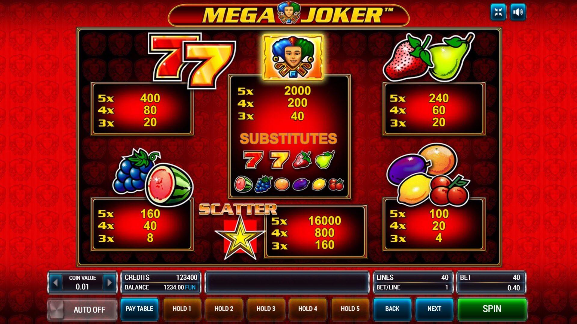 Изображение игрового автомата Mega Joker 1