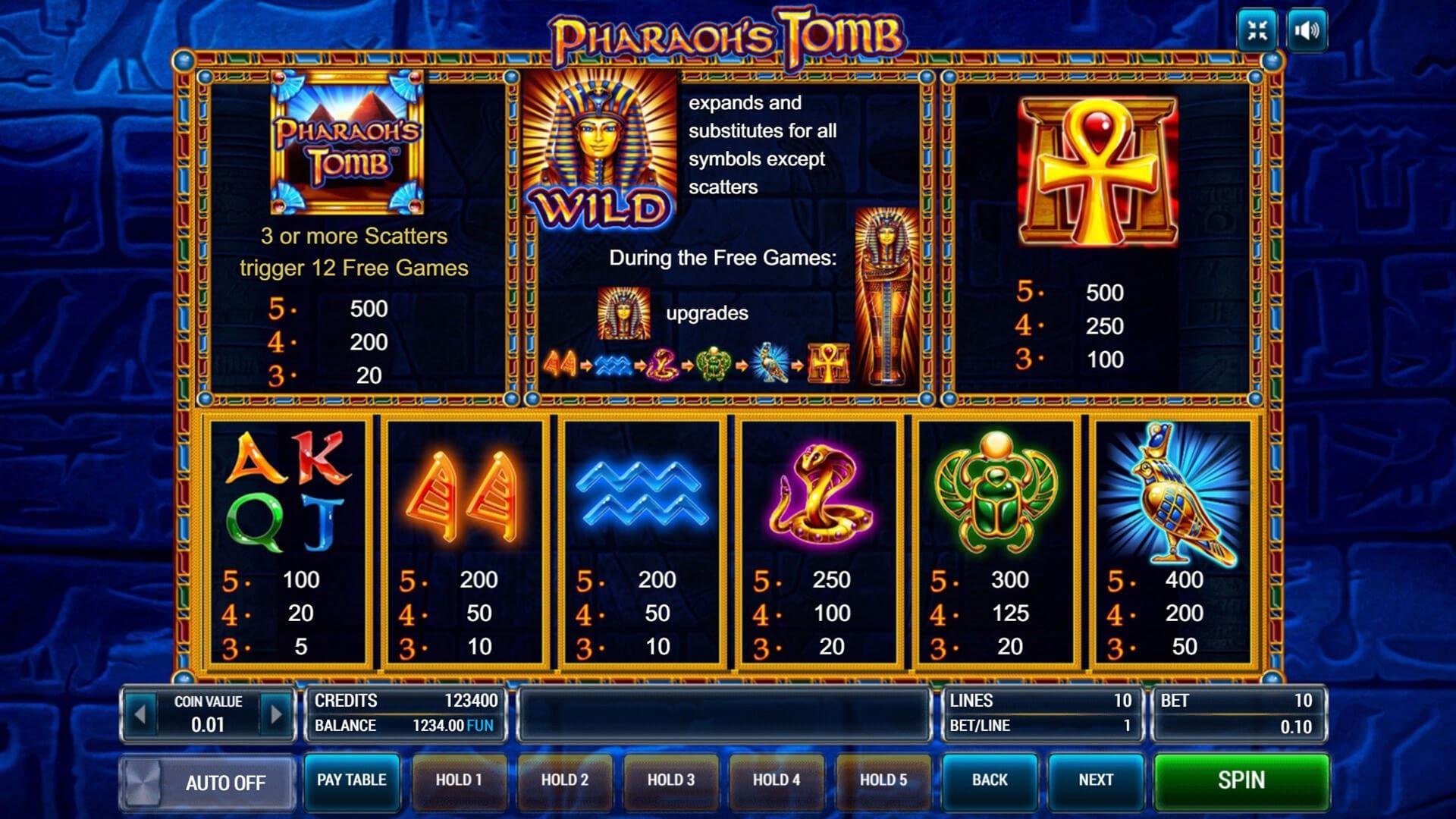 Изображение игрового автомата Pharaoh's Tomb 3