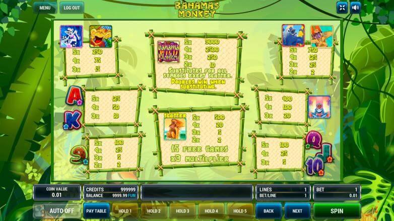 Изображение игрового автомата Bahamas Monkeys 3