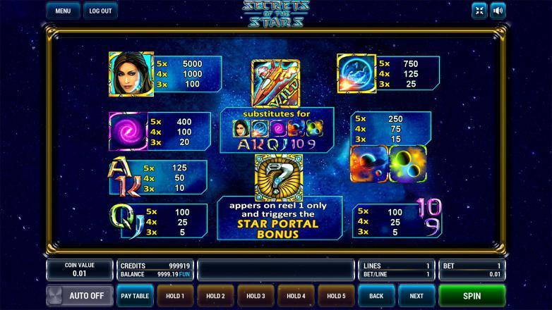 Изображение игрового автомата Secrets of the Stars 3