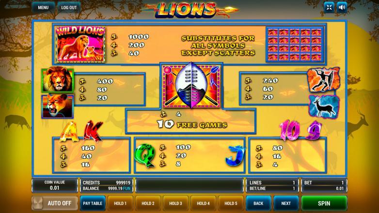 Изображение игрового автомата Lions 3