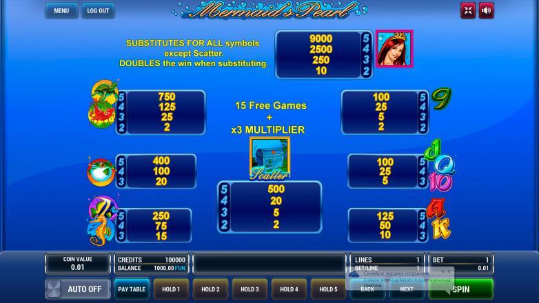 Изображение игрового автомата Mermaid's Pearl 3